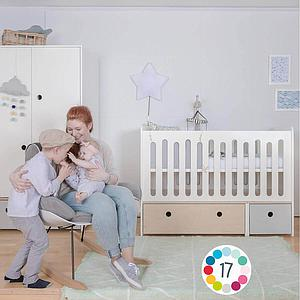 Lit bébé évolutif 70x140cm COLORFLEX Abitare Kids white wash-lime