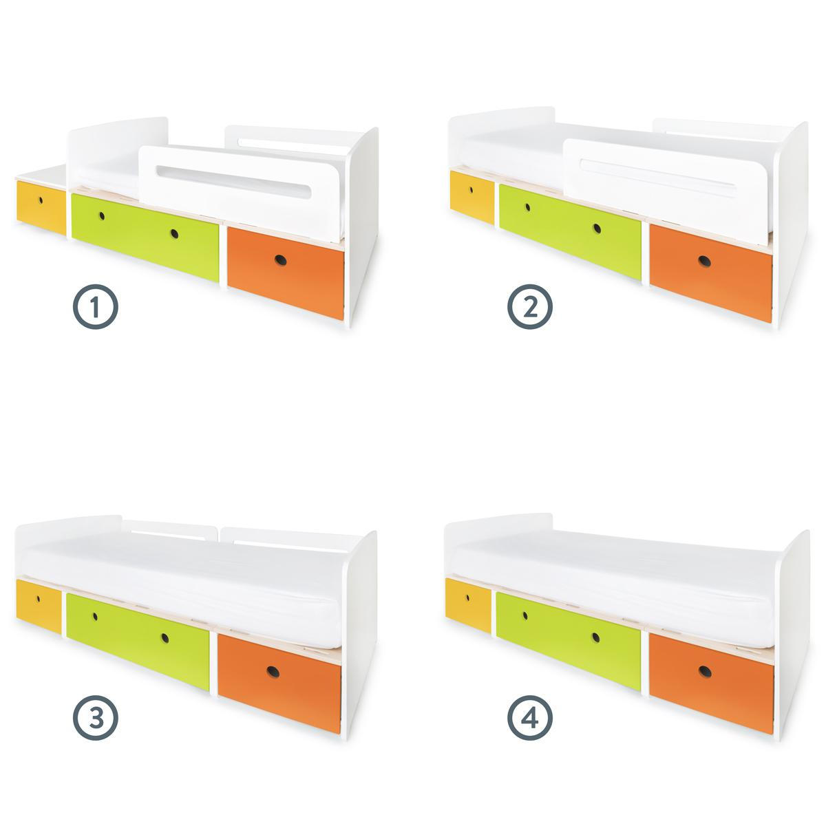 Lit évolutif 90x200cm COLORFLEX Abitare Kids nectar yellow-lime-pure orange