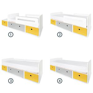 Lit évolutif 90x200cm COLORFLEX Abitare Kids nectar yellow-pearl grey-nectar yellow