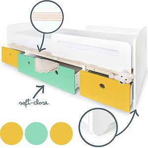 Lit évolutif 90x200cm COLORFLEX Abitare Kids nectar yellow-sea foam-nectar yellow