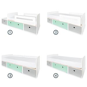 Lit évolutif 90x200cm COLORFLEX Abitare Kids pearl grey-mint-pearl grey