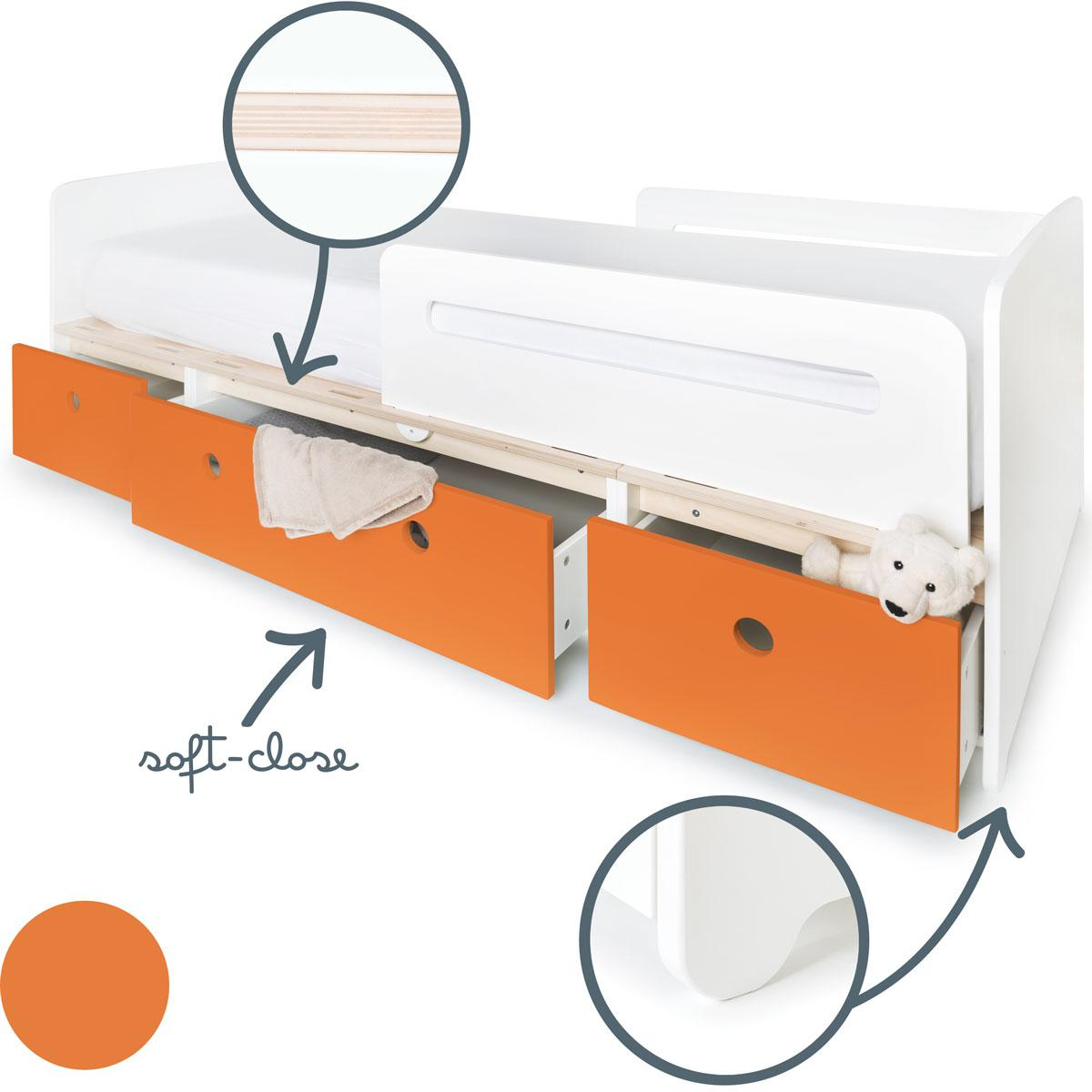 Lit évolutif 90x200cm COLORFLEX Abitare Kids pure orange