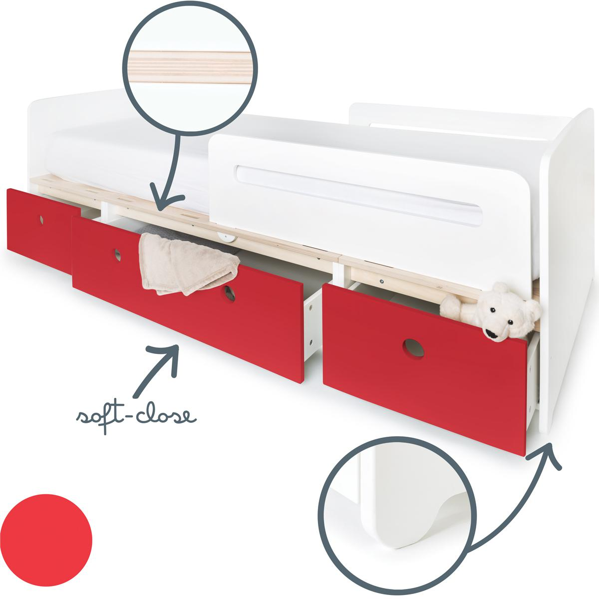 Lit évolutif 90x200cm COLORFLEX Abitare Kids true red