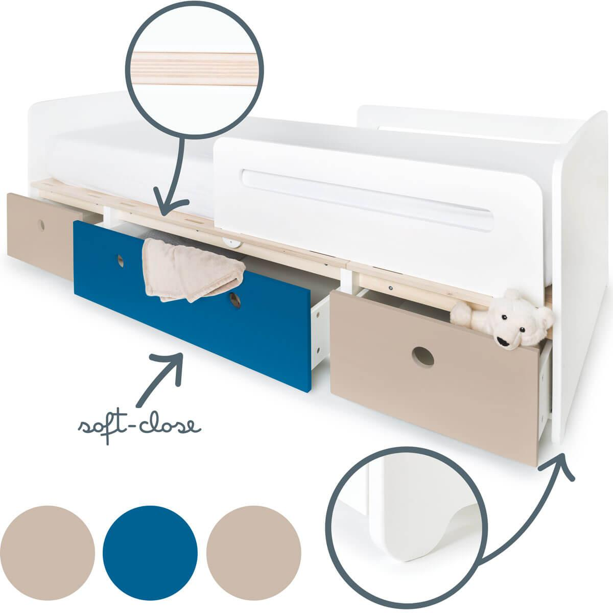 Lit évolutif 90x200cm COLORFLEX Abitare Kids warm grey-deep marine-warm grey