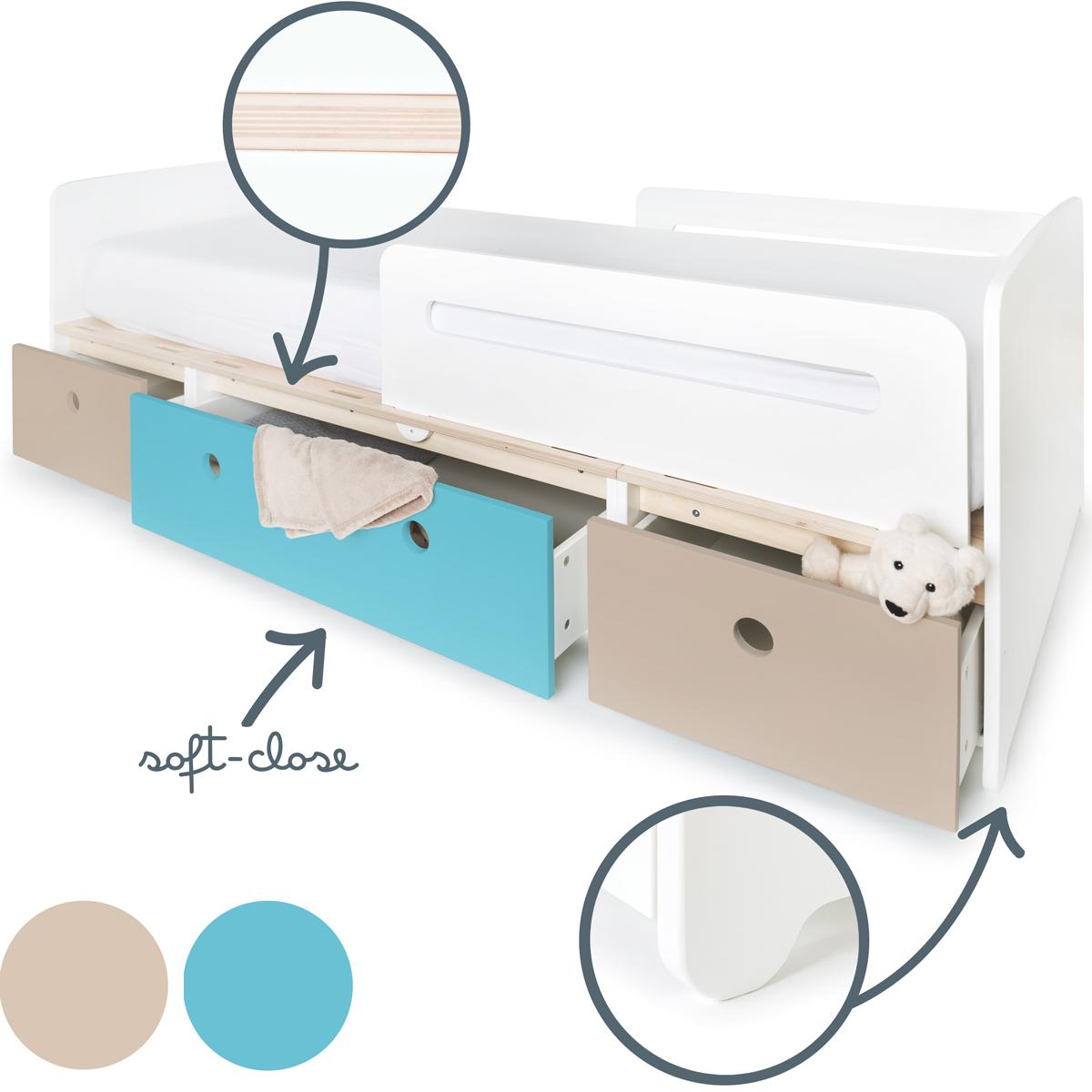 Lit évolutif 90x200cm COLORFLEX Abitare Kids warm grey-paradise blue-warm grey