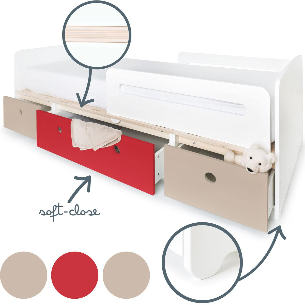 Lit évolutif 90x200cm COLORFLEX Abitare Kids warm grey-true red-warm grey