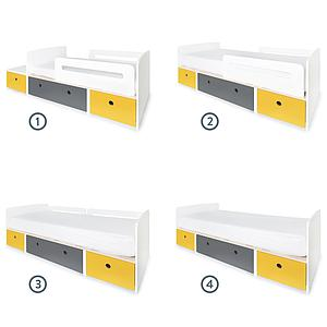 Lit évolutif 90x200cm COLORFLEX nectar yellow-space grey-nectar yellow