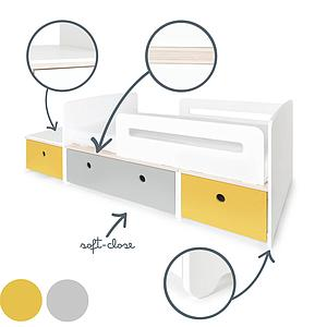 Lit junior évolutif 90x150/200cm COLORFLEX Abitare Kids nectar yellow-pearl grey-nectar yellow