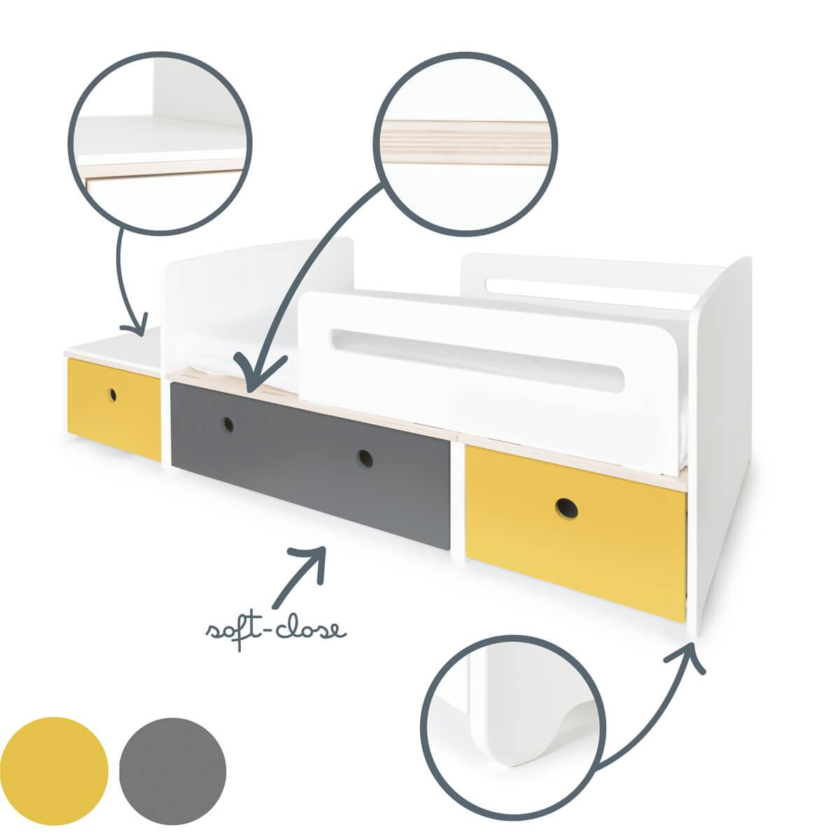 Lit junior évolutif 90x150/200cm COLORFLEX Abitare Kids nectar yellow-space grey-nectar yellow
