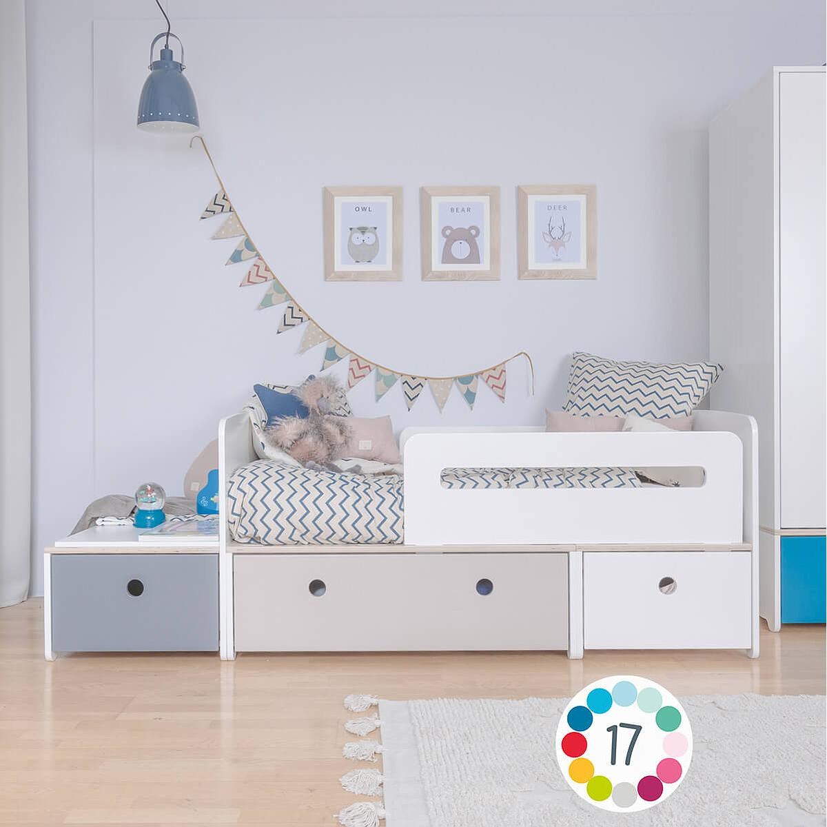 Lit junior évolutif 90x150/200cm COLORFLEX warm grey-mint-paradise blue