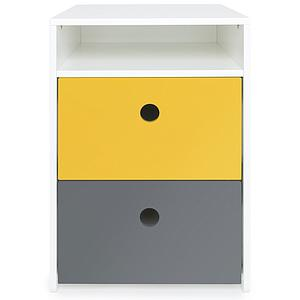 Petit meuble 2 tiroirs COLORFLEX Abitare Kids façades tiroirs nectar yellow-space grey