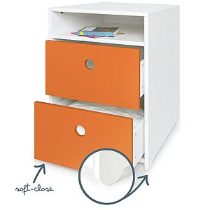 Petit meuble 2 tiroirs COLORFLEX Abitare Kids façades tiroirs pure orange